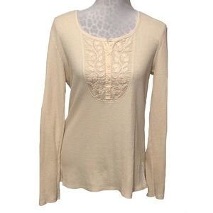 Lucky Brand Embroidered Waffle Knit Top